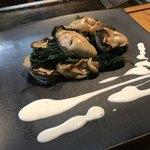Plancha - 牡蠣とほうれん草のバター焼き  ぷりっぷりっ♪