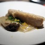 エクアトゥール - 海老芋のフリット 鮑添え 独活のソース 柚子風味