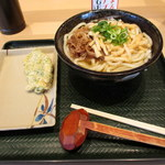 はなまるうどん - 料理写真:2018年2月 牛肉うどん大と竹の子天(790円)