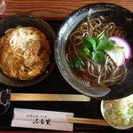 ふる里 - 料理写真:かつ丼、そばセットメニュー(1000円)