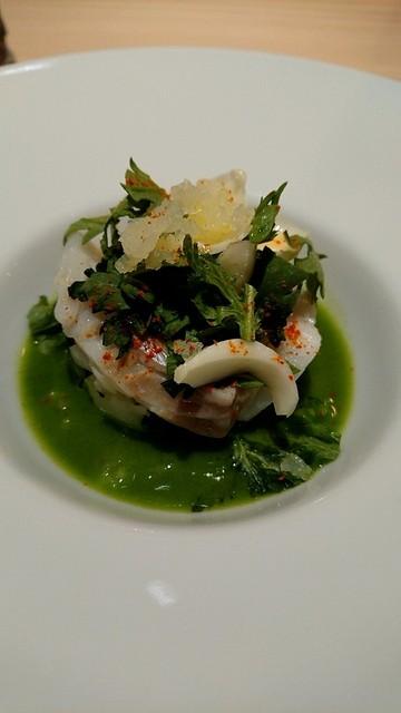 Restaurant MiYa-Vie - 蒸し焼きにした真鱈、春菊と百合根、日向夏。