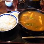 81091355 - 特カレーうどん(普通)、ご飯