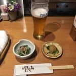 にし山 - 生ビールとお通し