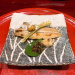 Soujiki Nakahigashi - ④小浜の笹鰈・氷餅・銀杏・乾燥ゴボウ・鯉の鱗と山椒の実・焼きレモン