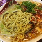大豚白 - 中太縮れ麺