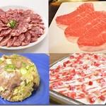 すすめ!ヴァイキング - ディナーの人気メニュー●熟成牛さがり醤油だれ(左上)●熟成炙りみすじ(右上) ●牛タンチャーハン(左下) ●季節のケーキ(右下・イメージ)
