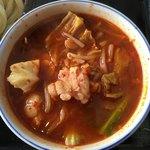 81138217 - 牛ホルモンつけ麺                       つけ汁(超辛)