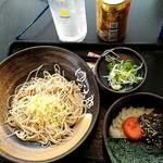 ゆで太郎 - 朝食セットの高菜と明太子丼、蕎麦。