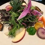 81151228 - まずは自慢の野菜からスタート。各種、異なる仕事で仕上げられており、驚きの味わいです。