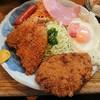 つかさ - 料理写真:日替わりランチ700円。 今日はアジフライとメンチカツの、絶好のコンビネーション!