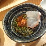 羽幌 鮨処 なか川 - 平目刺しをポン酢かお塩で