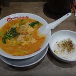 太陽のトマト麺 - エビクリームトマト麺+らあリゾ