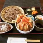 常陸手打蕎麦・うどん うち田 - もりそば + かき揚げミニ天丼  ¥800+480-