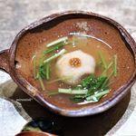 81232497 - 百合根と里芋、つくね芋の鴨まんじゅう タスマニアマスタードをのせ 壬生菜あんかけ