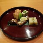 81235472 - 玉子焼き 浅利と俊菊の胡麻寄せ チシャトウ西京漬け 天然子持ち昆布 本シシャモ 茶ぶりナマコ