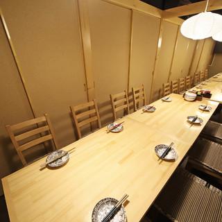 団体宴会も少人数飲み会も全て個室で