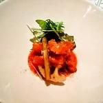 トリッパの香ばしいフリットディアボロ風トマトソースペコリーノの香り