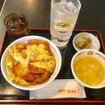 焼鳥日高 - ロースかつ丼490円+酎ハイ260円(共に税込)