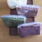 お菓子の四季 - 奥から、プレーン、マーブル、抹茶、ココア。