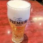 天府楼 - セットのグラスビール