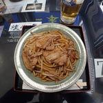 杉乃家 - なみえ焼きそばと生ビールのセット 1000円