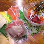 万栄食堂 - 刺身盛り定食 1280円