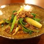 根津 日本酒 多田 - 塩漬け猪肉の麻婆白子