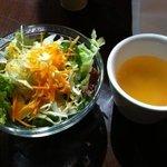 リマプル - ランチに付いてくるサラダとスープ