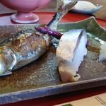 ひろもと - 鮎の焼き物と鯖寿司。