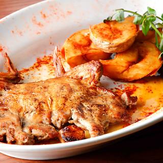 溶岩石グリルで焼き上げたお肉やお魚