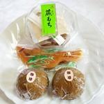 御菓子司 大久 - 料理写真:わらび餅200円鮎120円カフェオレまんじゅう100円