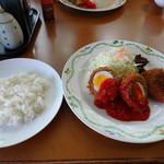 ハローRKB - ◆私は日替わりランチ(790円)を。 この日は「スコッチエッグ」と「カレーコロッケ」でした。