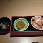 銀座 創作個室割烹 祇園 - 写真1:メニュー3品分