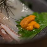 おたる政寿司 - 【魷魚絲(いかさうめん)】、蝦夷馬糞海膽(えぞばふんうに)