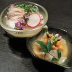 81366455 - ウニと平目の和え物、鯛の茶碗蒸し