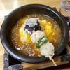 桃源飯店 - 料理写真:グツグツと煮えたぎった餡の天津飯