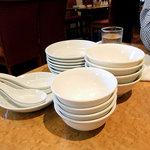 四川飯店 - 各テーブルには取り皿とレンゲがセットされています