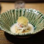 虎白 - 冷し物 松葉蟹・焼茄子 白味噌