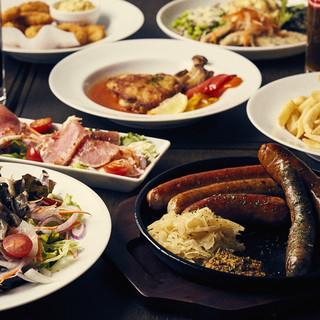 マイスター自慢のソーセージやドイツ料理を楽しめるコース