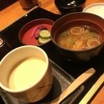 咲椀 - 茶碗蒸し、お味噌汁、お漬物
