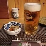 葉隠亭 - 晩酌セット(1,700円)の生ビールと小鉢