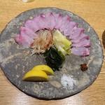 夕 - 黒ソイの薄作り~ポン酢・薬味色々~岩手県産 \1200