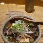 夕 - 野崎牛の肉豆腐~白葱・七味~鹿児島県産 \1100