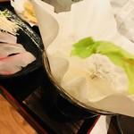 みかん - レタスを紙鍋へ