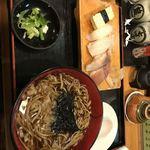 義つね - 生寿司定食(暖かい蕎麦)