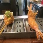 串かつ料理 活 - 河豚おろしポン酢、海老