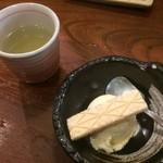 串かつ料理 活 - 食後の昆布茶、アイスクリーム