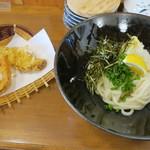 農家のうどん屋 - おろし醤油うどん+かぼちゃの天ぷら+さつまいもの天ぷら