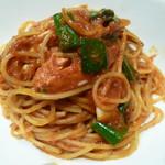 81493606 - 渡り蟹と九条ネギの トマトソーススパゲティ