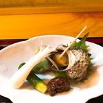 81498125 - 姫サザエ煮 エシャロット・姫きゅうり・そら豆 もろ味噌で